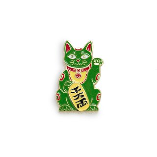 Maneki Cat Green Pin