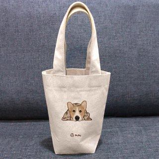 Keji-趴---Taiwan-made cotton linen- Wenchuang Shiba Inu-environment-beverage bag-fly planet