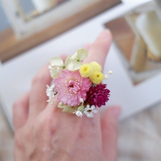 To be continued | Spring Breathable Pink Green Dry Flower Embroidered Hydrangea Ring Jewelry Wedding Gift Gift Bride Bridesmaid Wedding Photoshoot Wedding Spot