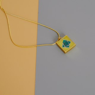 Hand-set mosaic gold-plated necklace 925 sterling silver gold-plated yellow geometric contrast long chain