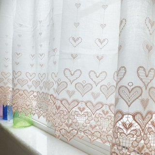 Vintage Embroidered Cotton Lace Window Valance Curtain