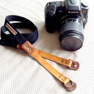 Camera Strap [Black Fabric Brown Leather] Hand Stamp ,Personalized ,Name ,Initials ,Customized