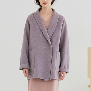 Lilac Park Pantone芋 purple vintage green collar coat loose wool wool coat