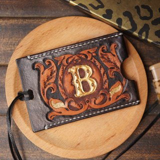 AT - handmade - B letter leather engraving painted identification card sets / card sets / work card sets