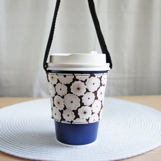 Lovely small cotton drink cup bag, bag, green cup set, drink cup set [black bottom]