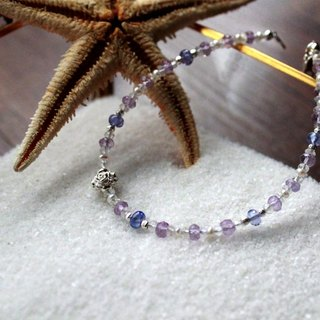 Journal Xingsha Sugar Bowl - drizzle smoke / Natural Tanzanite, Amethyst, Moonstone, pearl sterling silver bracelets