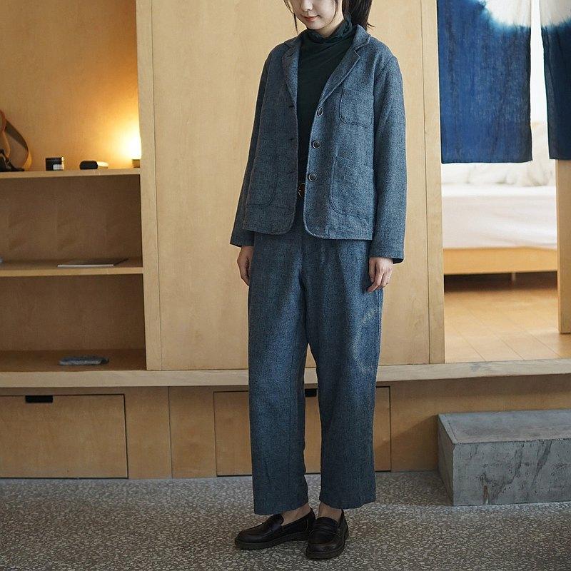 羊毛亞麻棉混紡藍染西褲