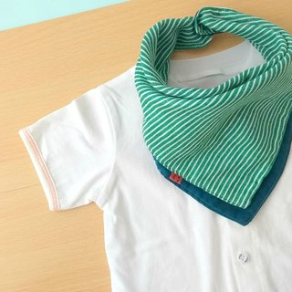Baby Bib, Reversible Bandana Bib, Japanese Double Gauze Cotton, Green