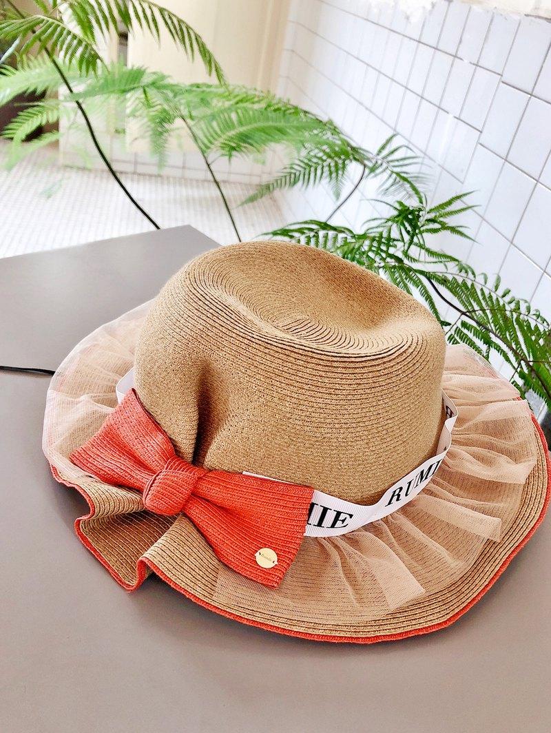 浪漫網紗蝴蝶結配色草帽 (R7731F)