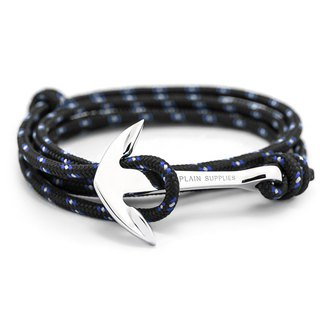 Silver Anchor Black Rope Bracelet