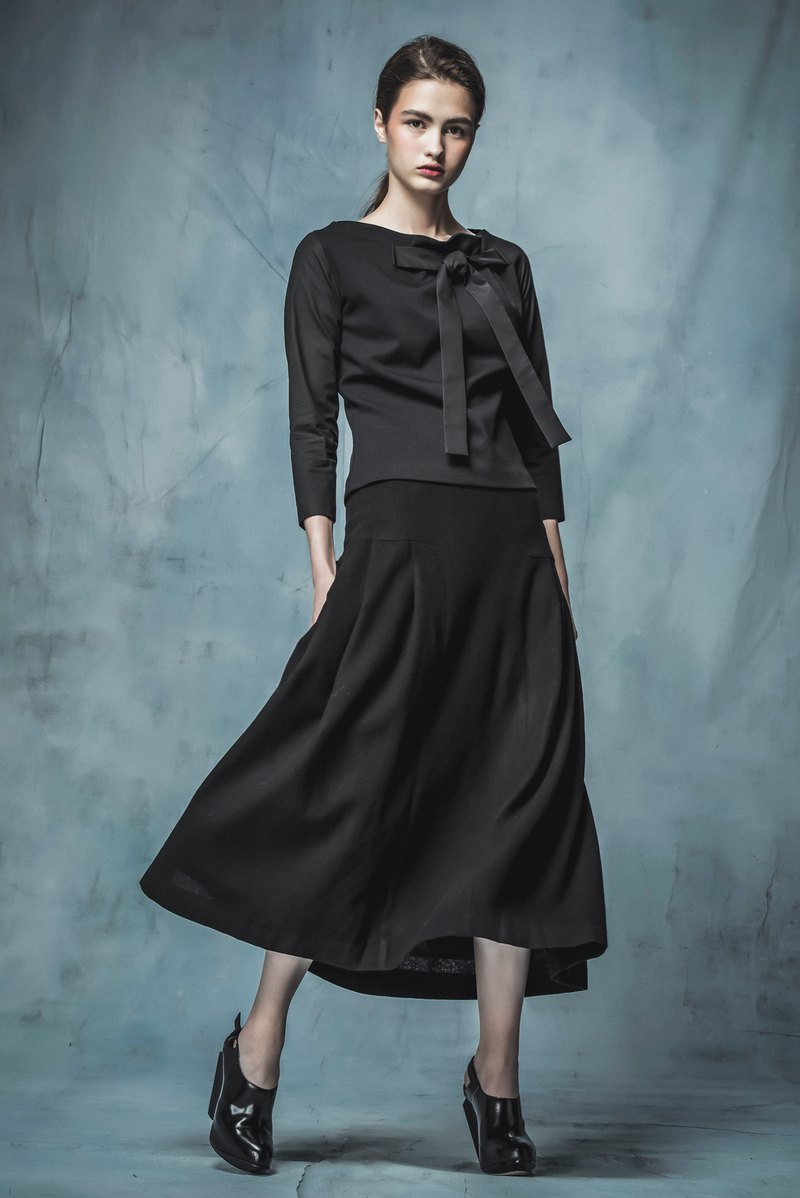 YUWEN 黑毛料長裙