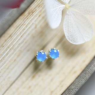 Health, longevity, wealth, success Neon Blue Agate Stud Earrings 3 mm Baby Size May Birthstone