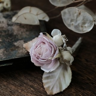 Vintage rose with jasmine brooch - Handmade fabric flowers brooch