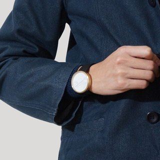 Leaking Dawn 40mm - Navy Leather | Genuine Marble | Swiss Movement
