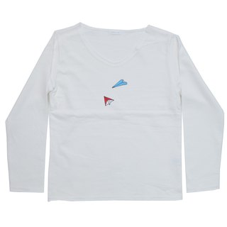 Our shop original paper airplane long-sleeved T-shirt Women's free size Tcollector
