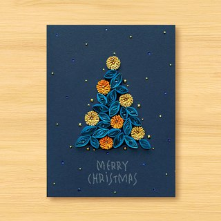 Hand-rolled paper stereo card _ Star series - Flowers roaming Christmas tree... Christmas card