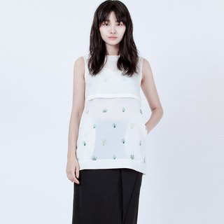 背心錯視花朵上衣 FLOWER PRINTED LAYER TOP