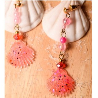 NEW!! Cute & Beauty Pink Seashell Resin Earrings