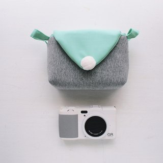Triangle envelope activity buckle with camera bag zipper - dark gray + water blue (class single eye / single eye)