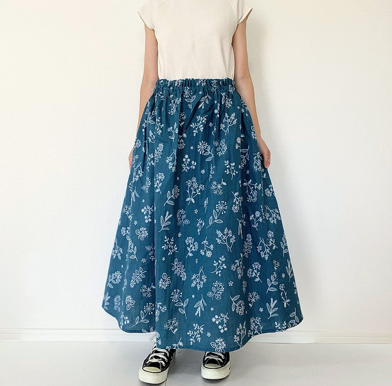 刺繡風印花 花草雙層紗布 長裙