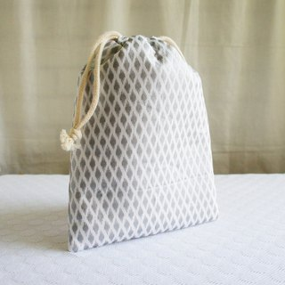 Lovely [Japanese cloth] silver diamond thick cotton bundle pocket (width 18x high 20 cm) with lining