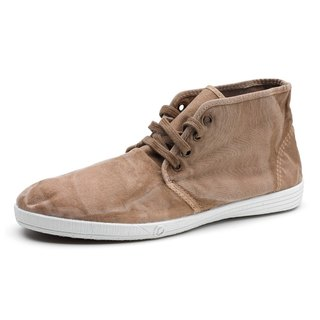 Spanish handmade canvas shoes / 306E canvas shoes in the tube / male models / washed brown