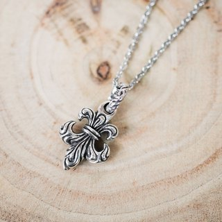Individual Iris Flower Lily Double-sided Carved Pendant Necklace - Silver 925 Sterling Silver