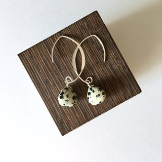 Dalmatian jasper drop Necklace and Hook-earring 14kgf, set-up
