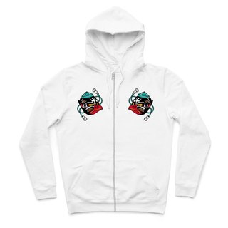 Small Tengu mask - White - Hooded zipper jacket