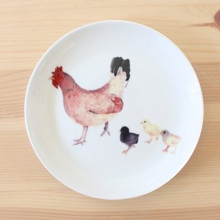 "5 ""bone china plate - hen with chick / microwavable / through SGS"