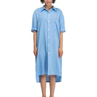 Original art linen OVERSIZE long paragraph five-point sleeve women's shirt BY JANWONG (custom section)