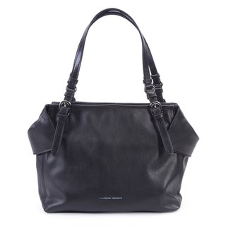 La Poche Secrete: Lucky girl's fold bag _ cowhide _ Shoulder back _ cosmic black