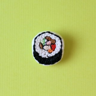 Mini hand embroidered brooch / pin seaweed sushi