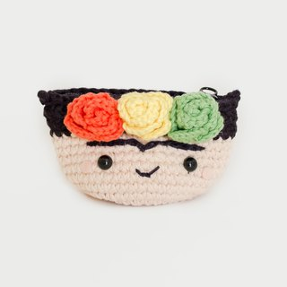 Crochet Coin Purse - Frida Kahlo No.5 | Crochet Coin Case | Small Round Pouch