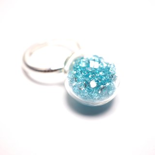 A Handmade light blue crystal ball ring