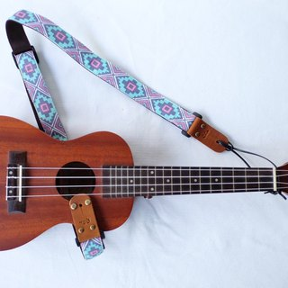 Blue-Pink Retro Ukulele Strap 3in1