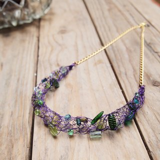 N121 stylish custom hand-woven emerald green grape purple beads with copper items and chain