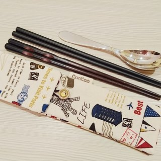 Green tableware storage bag chopsticks bag combination chopsticks special double chopsticks bag Eiffel Tower