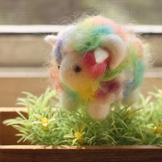 Hand dyed rainbow sheep necklace white face powder color system