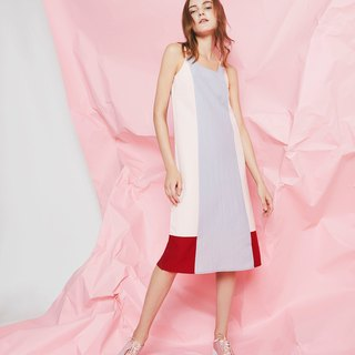 Colorblock Paneled Cami Dress (Pink)