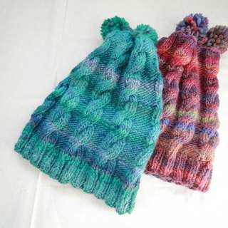 Araignee Design * Handmade knitted caps snow cap -Naughty Top Australian Sphere paragraph // blue-green color gradient European Urban Wind Wind