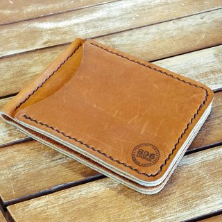 2 Card Slots Tan Oil Leather Money Clip Wallet