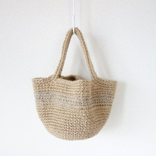 Round bottom hand-bag / gray line / jute / yuoworks