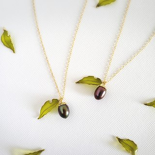 acorn & worm-eaten leaf necklace