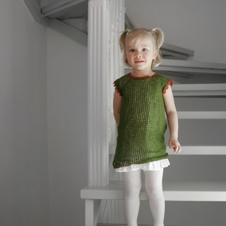 Organic girl dress, organic wool tunic, crochet dress, baby girl clothes,