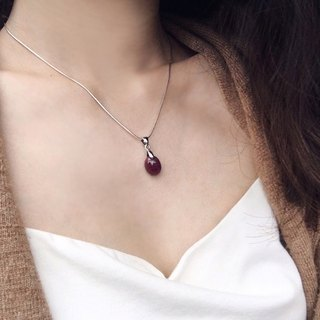 [Ofelia.] Natural Stone Series - Natural Small Oval Refined Ruby Silver Necklace (Unique Only One) [J108-Daenerys] / Crystal