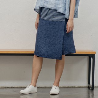 BUFU traditional Chinese indigo linen skirt SK180118