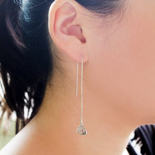 Simple Natural Stone Dangle Earrings - Hair Crystal 925 Sterling Silver