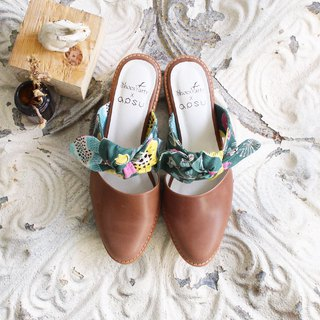 Brown bow mules shoes / handmade / Japanese fabric / M2-18822F