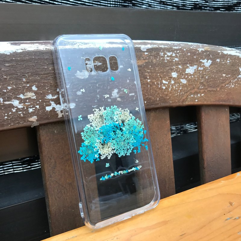 Samsung Galaxy S8 Handmade Pressed Flowers Case Blue Tree case 008